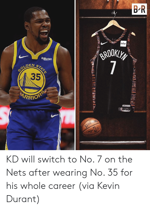 Kevin Durant, Rakuten, and Infor: B R  infor  GRODKLYS  7  Rakuten  N  GOLDENSTATE  35  RRIOFP  AREDS  SPALANG KD will switch to No. 7 on the Nets after wearing No. 35 for his whole career  (via Kevin Durant)
