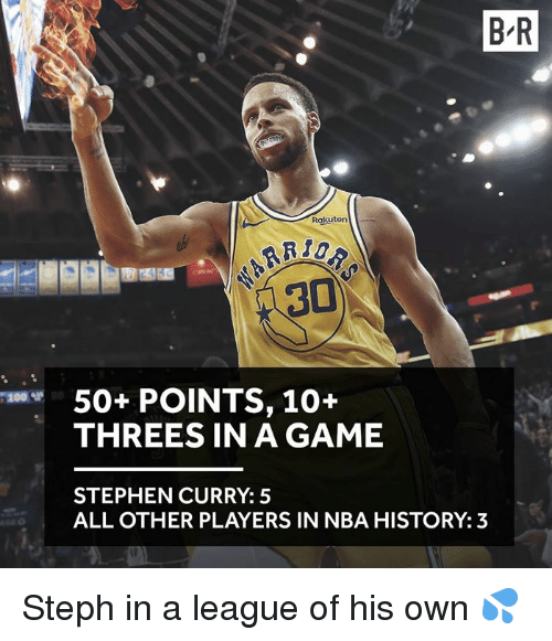 Bailey Jay, Nba, and Stephen: B R  Rakuten  50+ POINTS, 10+  THREES IN A GAME  200ザ  STEPHEN CURRY: 5  ALL OTHER PLAYERS IN NBA HISTORY: 3 Steph in a league of his own 💦