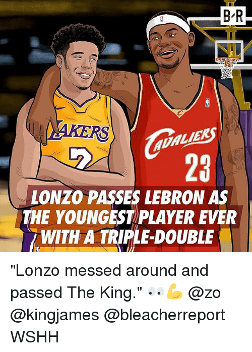 """Memes, Wshh, and Lebron: B-R  RS  LIE  MEK  23  LONZO PASSES LEBRON AS  THE YOUNGEST PLAYER EVER  WITH A TRIPLE-DOUBLE """"Lonzo messed around and passed The King."""" 👀💪 @zo @kingjames @bleacherreport WSHH"""