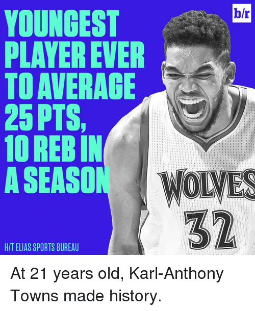 Karl-Anthony Towns: b/r  YOUNGEST  A  PLAYER EVER  TO AVERAGE  25 PTS,  1OREBIN  ASEASO  WONES  32  HIT ELIAS SPORTS BUREAU At 21 years old, Karl-Anthony Towns made history.