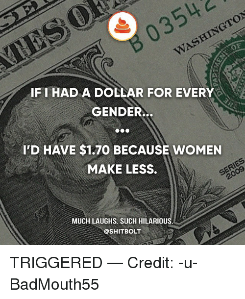 Memes, 2009, and Women: B03542  WASHINGTON  IFI HAD A DOLLAR FOR EVERY  GENDER..  I'D HAVE $1.70 BECAUSE WOMEN  MAKE LESS  2009  MUCH LAUGHS. SUCH HILARIOUS  @SHITBOLT TRIGGERED — Credit: -u-BadMouth55