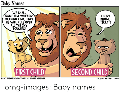 """Baby Names: Baby Names  WE SHALL  NAME HIM """"MUFASA""""  MEANING KING, SINCE  HE WILL RULE OVER  ALL THE SKY  TOUCHES!  I DONT  KNOW  """"SCAR""""?  FIRST CHILD  SECOND CHILD  2017 ALEXANDER HOFFMAN. ALL RIGHTS RESERVED  TALES OF ABSURDITY COM omg-images:  Baby names"""
