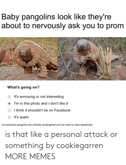 i dont like it: Baby pangolins look like they're  about to nervously ask you to prom  What's going on?  It's annoying or not interesting  I'm in this photo and I don't like it  I think it shouldn't be on Facebook  It's spam  but seriously pangolins are critically endangered and we need to raise awareness is that like a personal attack or something by cookiegarren MORE MEMES