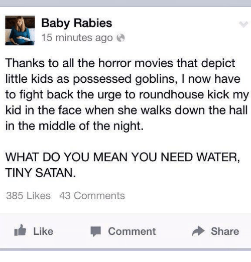 roundhouse: Baby Rabies  15 minutes ago  Thanks to all the horror movies that depict  little kids as possessed goblins, l now have  to fight back the urge to roundhouse kick my  kid in the face when she walks down the hall  in the middle of the night.  WHAT DO YOU MEAN YOU NEED WATER,  TINY SATAN  385 Likes 43 Comments  Like  Share  Comment
