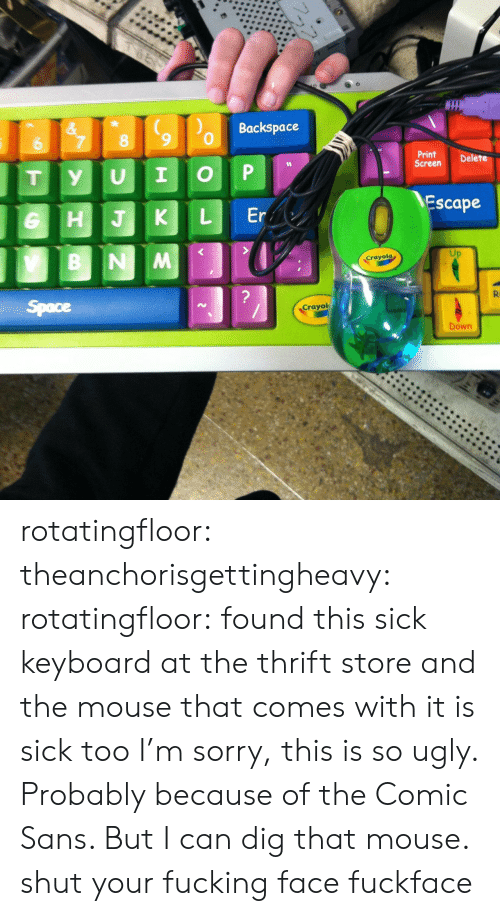 Sans: Backspace  &  7  8  6  Print  Screen  Delete  P  I  U  y  T  Escape  Er  L  HJK  B NM  Crayola  ?  R  Space  Crayol  Down rotatingfloor:  theanchorisgettingheavy:  rotatingfloor:  found this sick keyboard at the thrift store and the mouse that comes with it is sick too  I'm sorry, this is so ugly. Probably because of the Comic Sans. But I can dig that mouse.  shut your fucking face fuckface