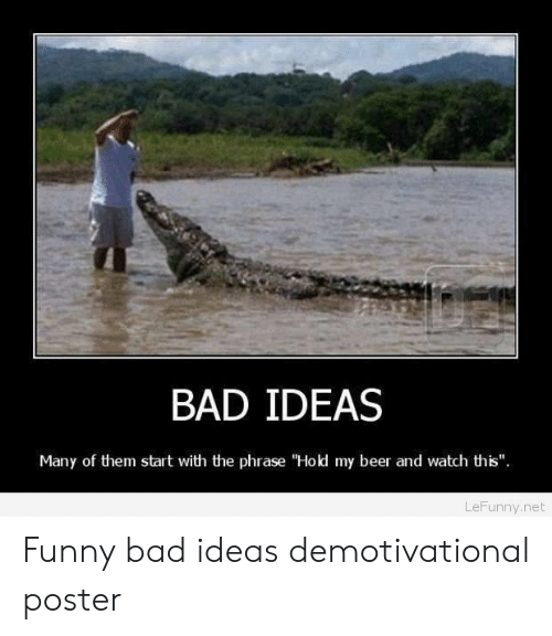 """Hold My Beer And Watch This: BAD IDEAS  Many of them start with the phrase """"Hold my beer and watch this""""  LeFunny.net Funny bad ideas demotivational poster"""