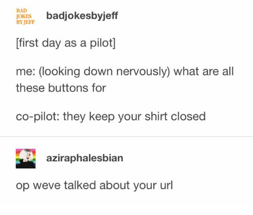 Bad, Bad Jokes, and Jokes: BAD  JOKES  BY JEFF  badjokesbyjeff  first day as a pilot]  me: (looking down nervously) what are all  these buttons for  co-pilot: they keep your shirt closed  aziraphalesbian  op weve talked about your url
