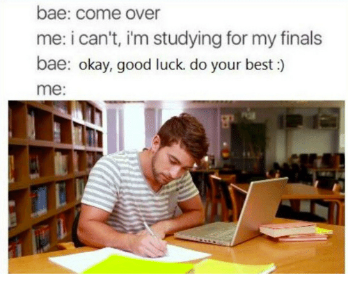 Bae, Come Over, and Finals: bae: come over  me: i can't, i'm studying for my finals  bae: okay, good luck. do your best :)  me: