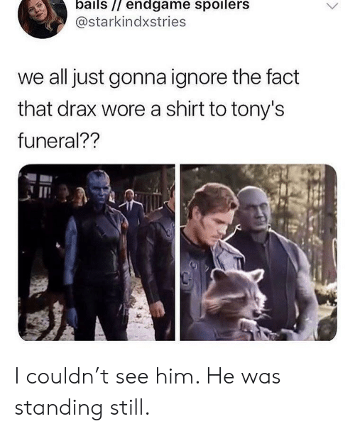 tonys: bails // endgame spoilers  @starkindxstries  we all just gonna ignore the fact  that drax wore a shirt to tony's  funeral?? I couldn't see him. He was standing still.
