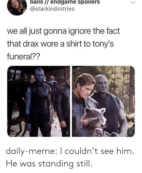 tonys: bails // endgame spoilers  @starkindxstries  we all just gonna ignore the fact  that drax wore a shirt to tony's  funeral?? daily-meme:  I couldn't see him. He was standing still.