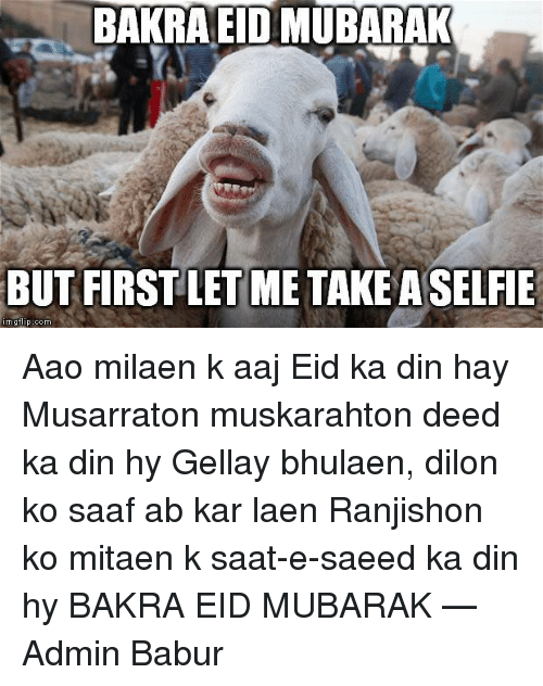 BAKRA EID MUBARAK BUT FIRST LETIME TAKE ASELFIE Mgflip Com