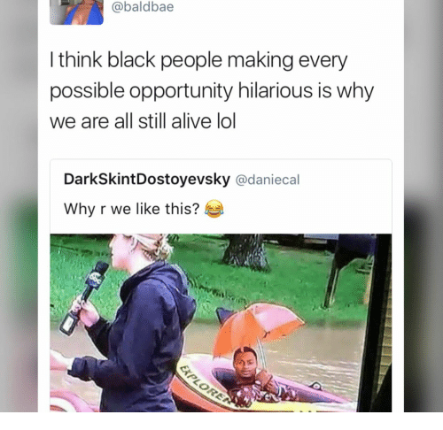 Blacks: @baldbae  I think black people making every  possible opportunity hilarious is why  we are all still alive lol  DarkSkintDostoyevsky @daniecal  Why r we like this?
