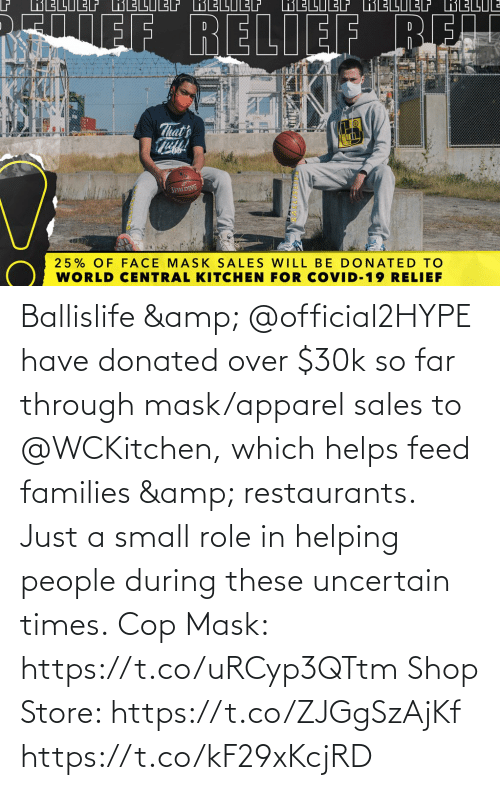 Helps: Ballislife & @official2HYPE have donated over $30k so far through mask/apparel sales to @WCKitchen, which helps feed families & restaurants.   Just a small role in helping people during these uncertain times.  Cop Mask: https://t.co/uRCyp3QTtm  Shop Store: https://t.co/ZJGgSzAjKf https://t.co/kF29xKcjRD