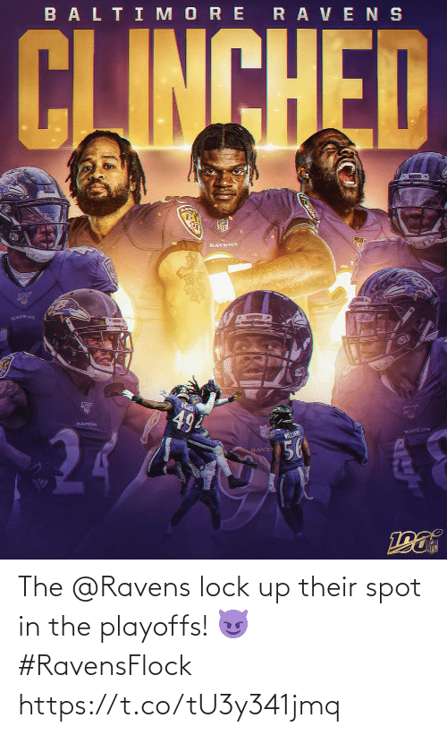Memes, Ravens, and Rave: BALTI MORE RAVENS  CJINCHED  RLAVE  RAVENS  RAVENS  494  RAVENS  WILLANS  RAVENS  56  RAVE The @Ravens lock up their spot in the playoffs! 😈 #RavensFlock https://t.co/tU3y341jmq