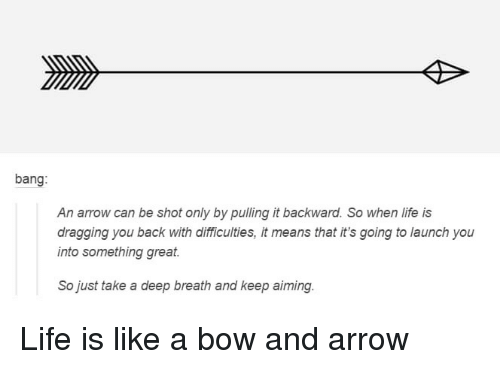 Life, Arrow, and Back: bang:  An arrow can be shot only by pulling it backward. So when life is  dragging you back with dlifficulties, it means that it's going to launch you  into something great  So just take a deep breath and keep aiming Life is like a bow and arrow