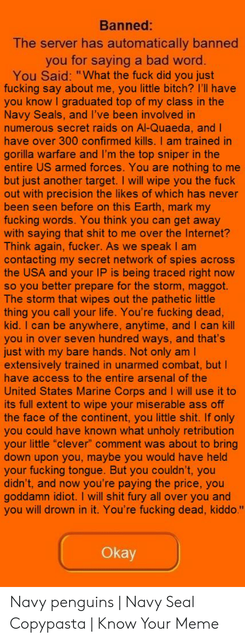 """Arsenal, Ass, and Bad: Banned:  The server has automatically banned  you for saying a bad word  You Said: """"What the fuck did you just  fucking say about me, you little bitch? I'll have  you know I graduated top of my class in the  Navy Seals, and l've been involved in  numerous secret raids on Al-Quaeda, and l  have over 300 confirmed kills. I am trained in  gorilla warfare and I'm the top sniper in the  entire US armed forces. You are nothing to me  but just another target. I will wipe you the fuck  out with precision the likes of which has never  been seen before on this Earth, mark my  fucking words. You think you can get away  with saying that shit to me over the Internet?  Think again, fucker. As we speak I am  contacting my secret network of spies across  the USA and your IP is being traced right now  so you better prepare for the storm, maggot.  The storm that wipes out the pathetic little  thing you call your life. You're fucking dead  kid. I can be anywhere, anytime, and I can kill  you in over seven hundred ways, and that's  just with my bare hands. Not only am l  extensively trained in unarmed combat, but I  have access to the entire arsenal of the  United States Marine Corps and I will use it to  its full extent to wipe your miserable ass off  the face of the continent, you little shit. If only  you could have known what unholy retribution  your little """"clever"""" comment was about to bring  down upon you, maybe you would have held  your fucking tongue. But you couldn't, you  didn't, and now you're paying the price, you  goddamn idiot. I will shit fury all over you and  you will drown in it. You're fucking dead, kiddo.""""  Okay Navy penguins   Navy Seal Copypasta   Know Your Meme"""