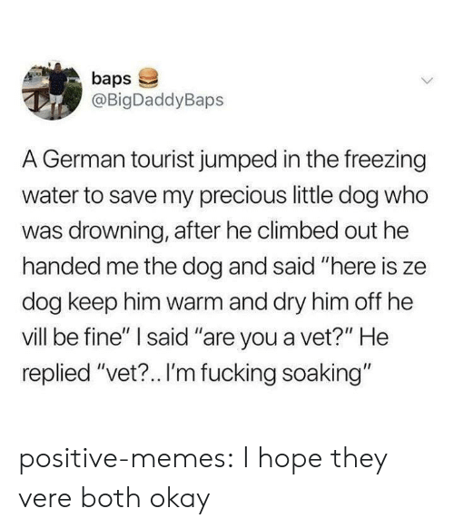 "Tourist: baps  @BigDaddyBaps  A German tourist jumped in the freezing  water to save my precious little dog who  was drowning, after he climbed out he  handed me the dog and said ""here is ze  dog keep him warm and dry him off he  vill be fine"" I said ""are you a vet?"" He  replied ""vet?.. I'm fucking soaking"" positive-memes:  I hope they vere both okay"