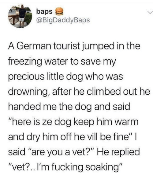 "Here Is: baps  @BigDaddyBaps  L.  A German tourist jumped in the  freezing water to save my  precious little dog who was  drowning, after he climbed out he  handed me the dog and said  ""here is ze dog keep him warm  and dry him off he vill be fine"" 