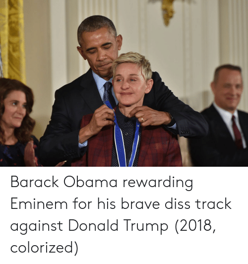 Diss: Barack Obama rewarding Eminem for his brave diss track against Donald Trump (2018, colorized)
