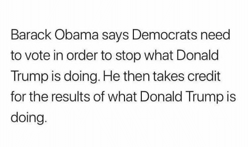 Donald Trump, Memes, and Obama: Barack Obama says Democrats need  to vote in order to stop what Donald  Trump is doing. He then takes credit  for the results of what Donald Trump is  doing