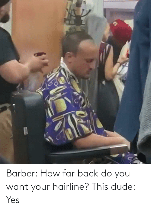 Barber: Barber: How far back do you want your hairline? This dude: Yes