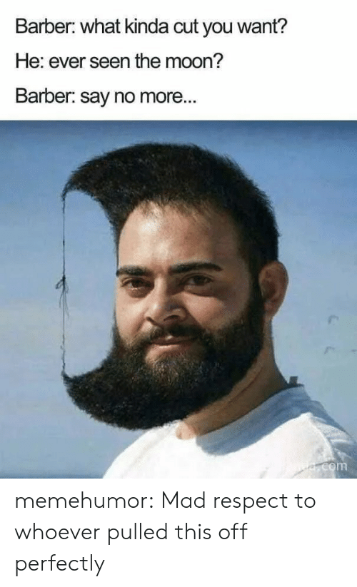 Barber, Respect, and Tumblr: Barber: what kinda cut you want?  He: ever seen the moon?  Barber: say no more...  e.com memehumor:  Mad respect to whoever pulled this off perfectly