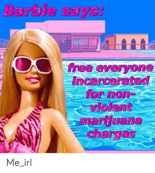 Barbie: Barbie says:  free everyone  Incarcerated  for non-  violent  marijuana  charges Me_irl