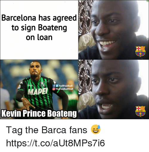 Kevin-Prince Boateng: Barcelona has agreed  to sign Boateng  on loan  FCB  fTrollFootball  TheFootballTroll  Kevin Prince Boateng  FCB Tag the Barca fans 😅 https://t.co/aUt8MPs7i6