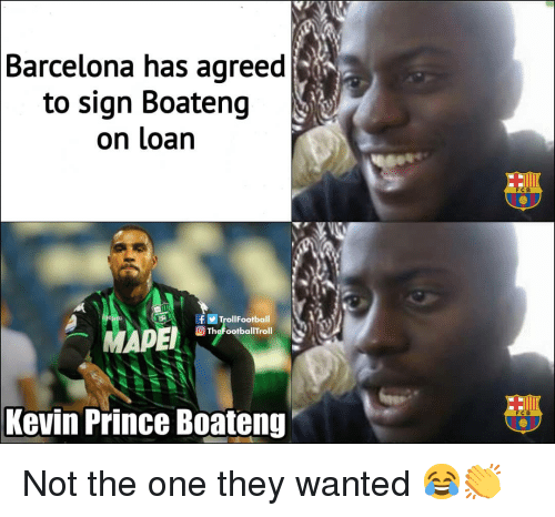 Kevin-Prince Boateng: Barcelona has agreed  to sign Boateng  on loan  FCB  TrollFootball  TheFootballTroll  Kevin Prince Boateng  FC B Not the one they wanted 😂👏