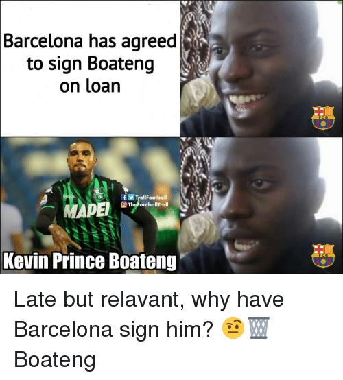 Kevin-Prince Boateng: Barcelona has agreed  to sign Boateng  on loan  FCB  TrollFootball  TheFootballTroll  Kevin Prince Boateng  FC B Late but relavant, why have Barcelona sign him? 🤨🗑 Boateng