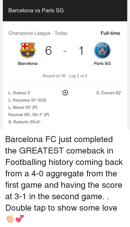Barcelona Vs: Barcelona vs Paris SG  Champions League Today  FCB  Barcelona  Round of 16 Leg 2 of 2  L. Suarez 3'  L. Kurzawa 40' (OG)  L. Messi 50' (P)  Neymar 88', 90+1' (P)  S. Roberto 90+5  Full-time  Paris SG  E. Cavani 62' Barcelona FC just completed the GREATEST comeback in Footballing history coming back from a 4-0 aggregate from the first game and having the score at 3-1 in the second game. . Double tap to show some love 👏🏼💕