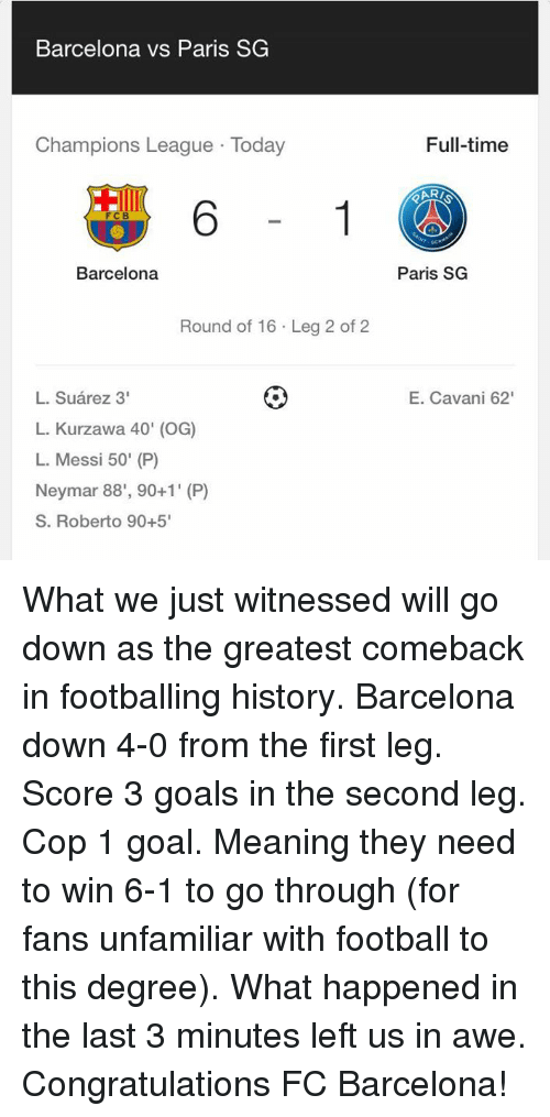 Barcelona Vs: Barcelona vs Paris SG  Champions League Today  FCB  Barcelona  Round of 16 Leg  2 of 2  L. Suarez 3'  L. Kurzawa 40' (OG)  L. Messi 50' (P)  Neymar 88', 90+1' (P)  S. Roberto 90+5'  Full-time  Paris SG  E. Cavani 62' What we just witnessed will go down as the greatest comeback in footballing history.  Barcelona down 4-0 from the first leg.  Score 3 goals in the second leg.  Cop 1 goal. Meaning they need to win 6-1 to go through (for fans unfamiliar with football to this degree).  What happened in the last 3 minutes left us in awe.  Congratulations FC Barcelona!