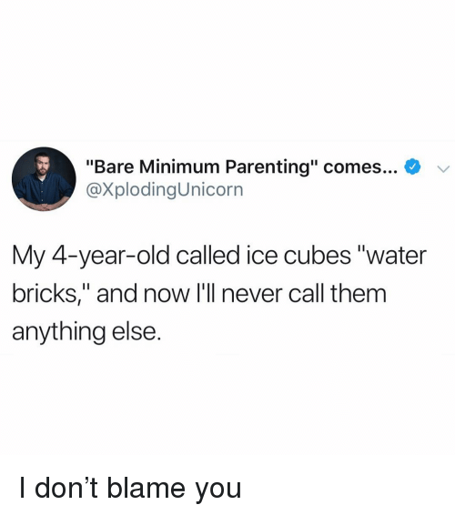 "Ice Cubes: ""Bare Minimum Parenting"" comes... *  @XplodingUnicorn  My 4-vear-old called ice cubes ""water  bricks,"" and now I'll never call them  anything else. I don't blame you"