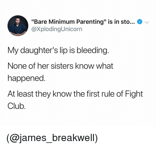"Club, Fight Club, and Dank Memes: ""Bare Minimum Parenting"" is in sto... V  @XplodingUnicorrn  My daughter's lip is bleeding  None of her sisters know what  happened.  At least they know the first rule of Fight  Club (@james_breakwell)"