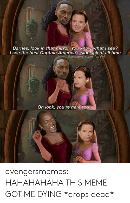 Hahahahaha: Barnes, look in that mirror. You know what I see?  l see the best Captain America's sidekick of all time  Gavengers super fan IIG  Oh look, you're here too! avengersmemes:  HAHAHAHAHA THIS MEME GOT ME DYING *drops dead*