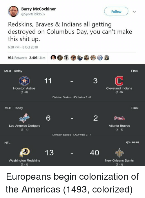 washington redskins: Barry McCockiner  Follow  @SportsTalklo3y  Redskins, Braves & Indians all getting  destroyed on Columbus Day, you can't make  this shit up.  6:38 PM 8 Oct 2018  936 Retweets 2,403 Likes  MLB Today  Final  3  Houston Astros  (3- 0)  Cleveland Indians  (0-3)  Division Series HOU wins 3 -0  MLB Today  Final  6  2  Los Angeles Dodgers  (3 1)  Atlanta Braves  (1 3)  Division Series LAD wins 3 1  NFL  Q3-04:01  40  Washington Redskins  (2-1)  New Orleans Saints  (3-1) Europeans begin colonization of the Americas (1493, colorized)