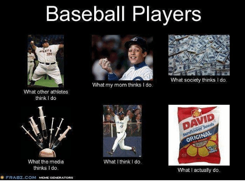 memes generator: Baseball Players  What society thinks I do.  What my mom thinks l do.  What other athletes  think l do  ORIGINAL  What the media  What I think I do.  thinks Ido  What actually do.  FRABZ.COM  MEME GENERATORS