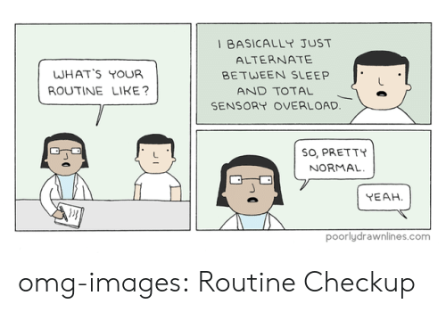 Sensory: BASICALLY JUST  ALTERNATE  BETWEEN SLEEP  WHAT'S YOUR  ROUTINE LIKE  AND TOTAL I e  SENSORY OVERLOAD  SO, PRETTY  NORMAL  YEAH  poorlydrawnlines.com omg-images:  Routine Checkup