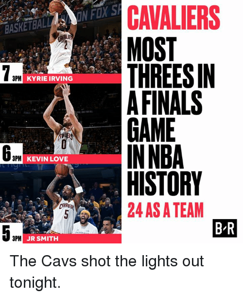 Ali, Cavs, and Finals: BASKETBAL  ALI  3PM  KYRIE IRVING  3PM  KEVIN LOVE  5 LA  3PM JR SMITH  CAVALIERS  MOST  THREESIN  FINALS  GAME  IN NBA  HISTORY  24 ASATEAM  BR The Cavs shot the lights out tonight.