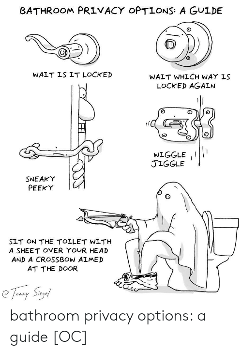At the door: BATHROOM PRIVACY OPTIONS: A GULDE  WAIT IS IT LOCKED  WAIT WHLCH WAY IS  LOCKED AGAIN  WIGGLEII  JIGGLE  SNEAKY  PEEKY  SLT ON THE TOLLET WLTH  A SHEET OVER YOUR HEAD  AND A CROSSBOW ALMED  AT THE DOOR  Sieg  Onim bathroom privacy options: a guide [OC]