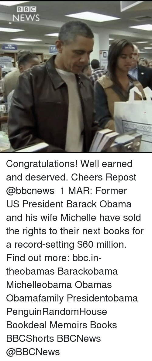 Solde: BBC  NEWS Congratulations! Well earned and deserved. Cheers Repost @bbcnews ・・・ 1 MAR: Former US President Barack Obama and his wife Michelle have sold the rights to their next books for a record-setting $60 million. Find out more: bbc.in-theobamas Barackobama Michelleobama Obamas Obamafamily Presidentobama PenguinRandomHouse Bookdeal Memoirs Books BBCShorts BBCNews @BBCNews