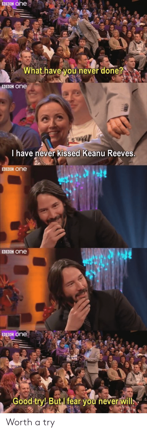 What Have You: BBC ohe  What have you never done?  BBC One  I have never kissed Keanu Reeves.  BBC One  BBC one  BBC one  Good try! ButI fear you never will Worth a try