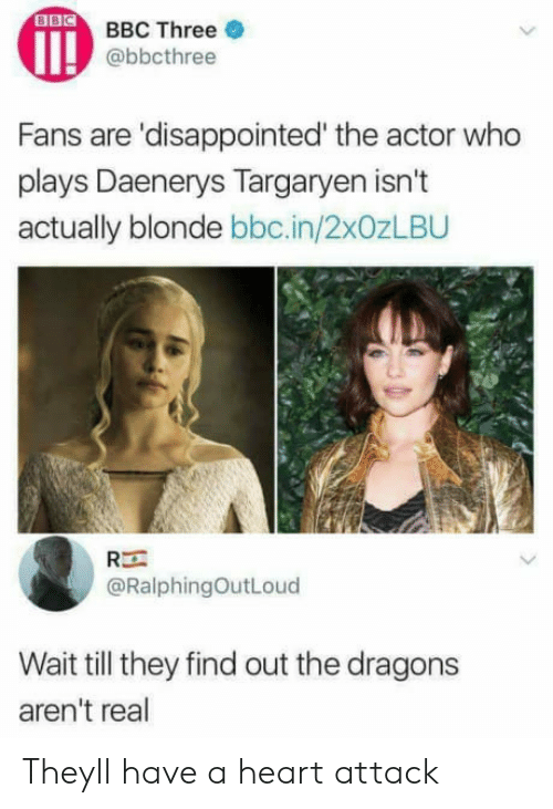 Daenerys Targaryen: BBC Three  @bbcthree  Fans are 'disappointed' the actor who  plays Daenerys Targaryen isn't  actually blonde bbc.in/2x0zLBU  Rー  @RalphingOutLoud  Wait till they find out the dragons  aren't real Theyll have a heart attack