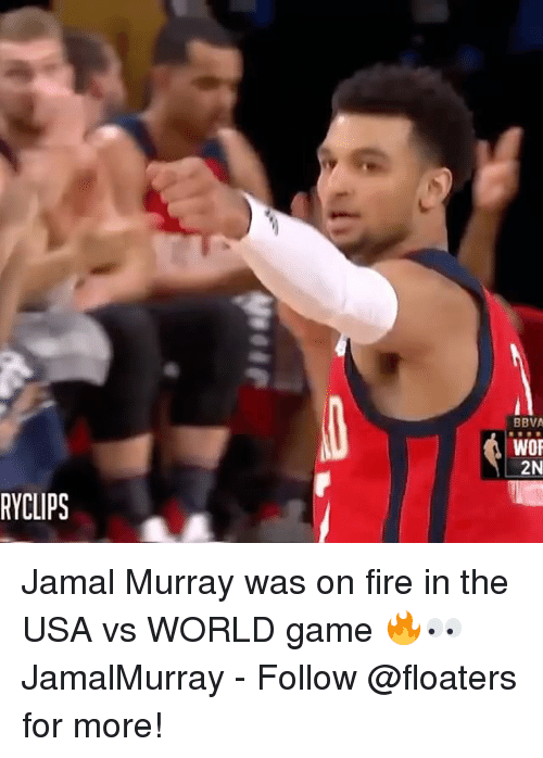 bbva: BBVA  WOR  2N  RYCLIPS Jamal Murray was on fire in the USA vs WORLD game 🔥👀 JamalMurray - Follow @floaters for more!