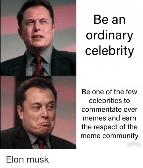 Community, Meme, and Memes: Be an  ordinary  celebrity  Be one of the few  celebrities to  commentate over  memes and earn  the respect of the  meme community Elon musk