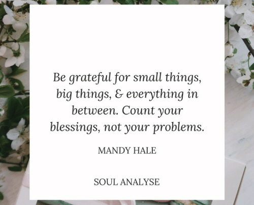 Blessings, Big, and Soul: Be grateful for small things,  big things, & everything in  between. Count your  blessings, not your problems.  MANDY HALE  SOUL ANALYSE