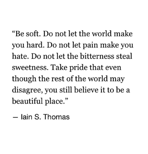 """lain: """"Be soft. Do not let the world make  you hard. Do not let pain make you  hate. Do not let the bitterness steal  sweetness. Take pride that even  though the rest of the world may  disagree, you still believe it to be a  beautiful place.""""  - lain S. Thomas"""