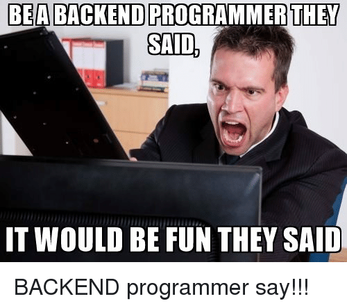 Programmer Humor: BEA BACKEND PRO  OGRAMMER  THEY  IT WOULD BE FUN THEY SAID BACKEND programmer say!!!