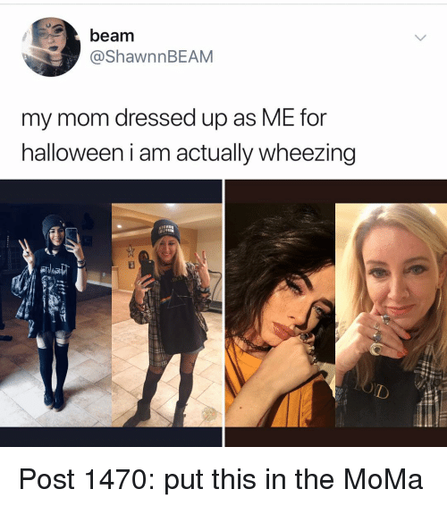 wheezing: beam  @ShawnnBEAM  my mom dressed up as ME for  halloween i am actually wheezing Post 1470: put this in the MoMa