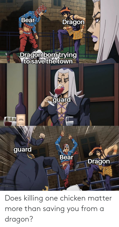 dod: Bear  Dragon  Dragon born trying  to save the town  guard  Cotie  SILENT  guard  Bear  Dragon  DOD Does killing one chicken matter more than saving you from a dragon?